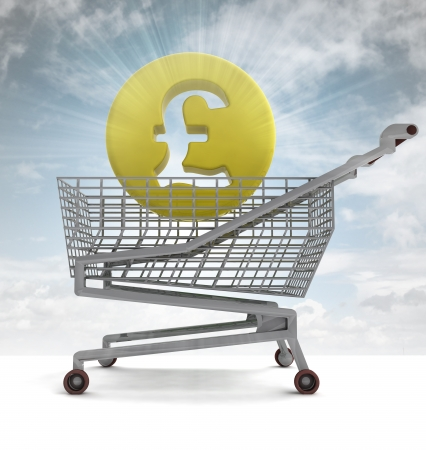 profusion: british pound in shoping cart with sky flare illustration