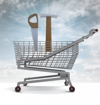 dyi: shoping cart with hammer and saw and sky flare illustration