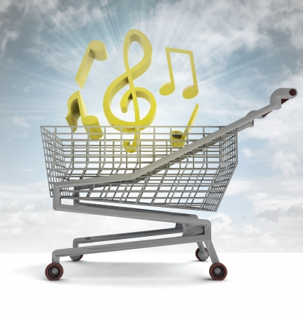 profusion: shoping cart full of music and sky flare illustration