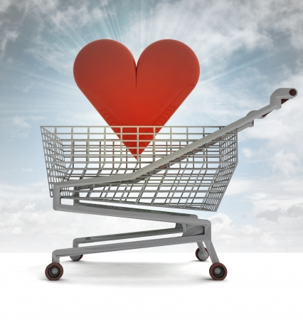 profusion: shoping cart with red heart and sky flare illustration Stock Photo
