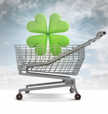 felicity: shoping cart with green cloverleaf and sky flare illustration