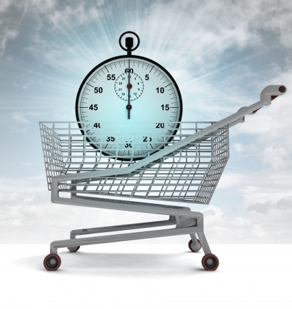 profusion: shoping cart with blue stopwatch and sky flare illustration Stock Photo