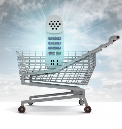 profusion: shoping cart with blue phone and sky flare illustration