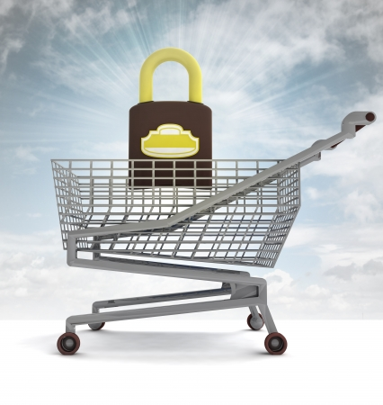 profusion: shoping cart with closed padlock and sky flare illustration