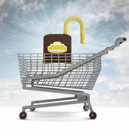 profusion: shoping cart with opened padlock and sky flare illustration