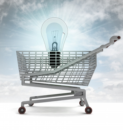 profusion: shopping cart with shiny bulb and sky flare illustration