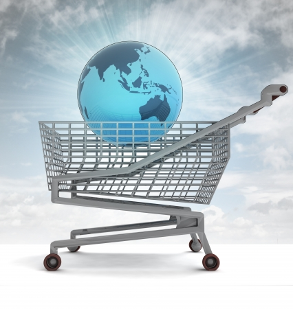 profusion: shoping cart with asia on globe and sky flare illustration