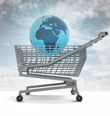profusion: shoping cart with africa on globe and sky flare illustration Stock Photo