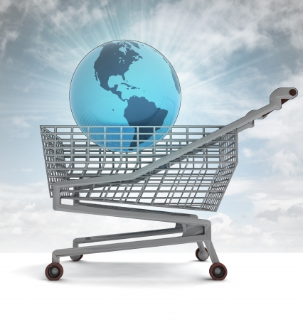profusion: shoping cart with america on globe and sky flare illustration