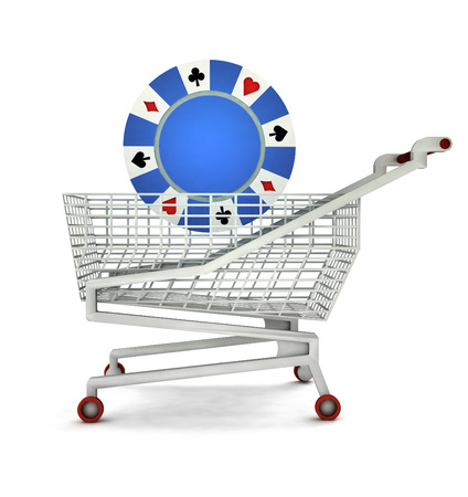 bought: bought of poker chip in shopping cart isolated illustration