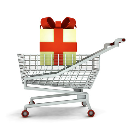 bought: bought of gift cake in shopping cart isolated illustration Stock Photo