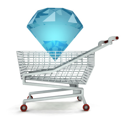 bought: bought of diamond cake in shopping cart isolated illustration