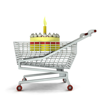 bought: bought birthday cake in shopping cart isolated illustration Stock Photo
