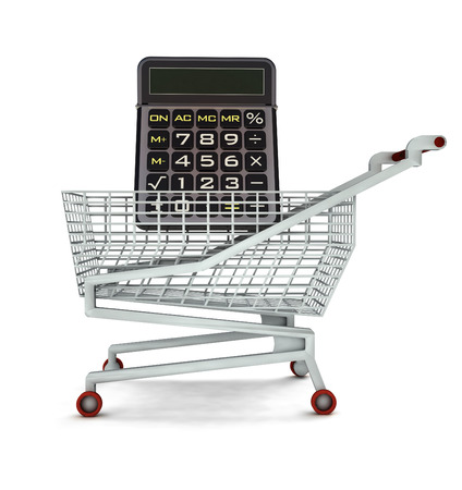leasing: market calculator in shopping cart isolated illustration