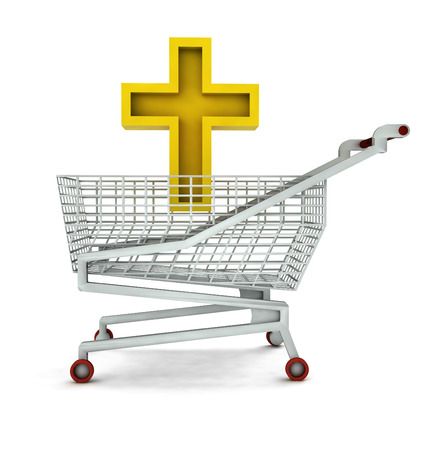 bought: bought golden cross in shopping cart isolated illustration