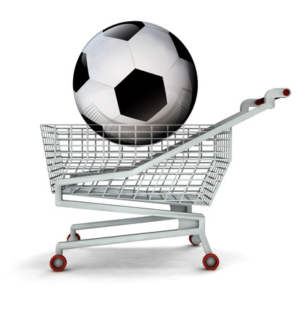 bought: bought new ball in shopping cart isolated illustration