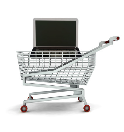 leasing: bought new laptop in shopping cart isolated illustration