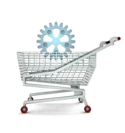 spare part: bought spare part in shopping cart isolated illustration