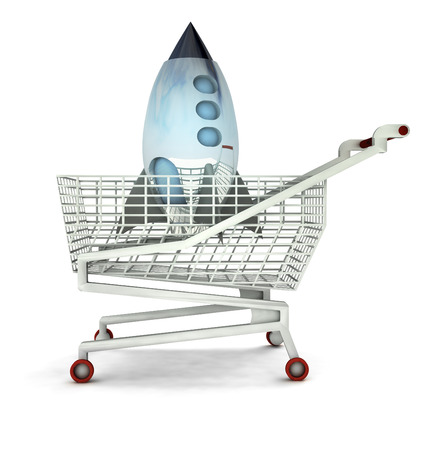 bought: bought space rocket toy in shopping cart isolated illustration Stock Photo