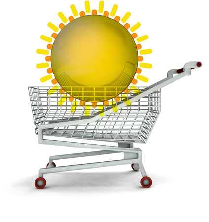 bought: bought holiday trip in shopping cart isolated illustration Stock Photo
