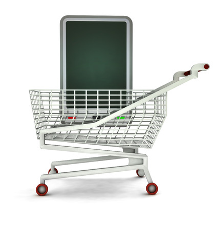 leasing: bought new smart phone in shopping cart isolated illustration