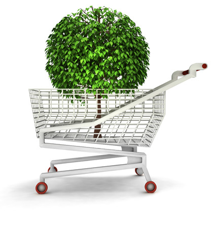 bought: bought tree in shopping cart isolated illustration