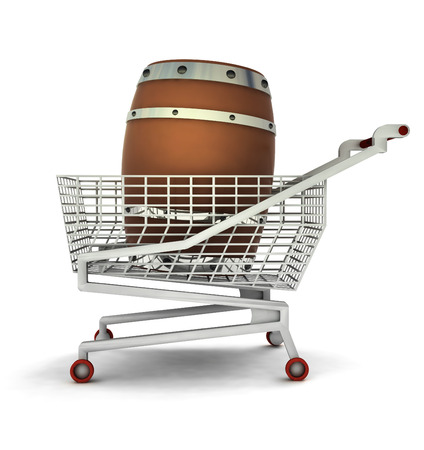 bought: bought beverage barrel in shopping cart isolated illustration
