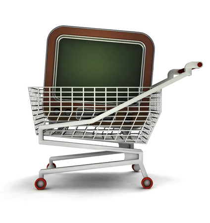 bought: bought television in shopping cart isolated illustration