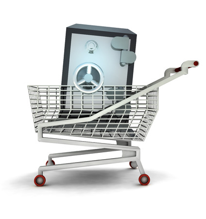 bought: bought wealth in shopping cart isolated illustration