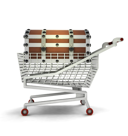 bought: bought treasure in shopping cart isolated illustration
