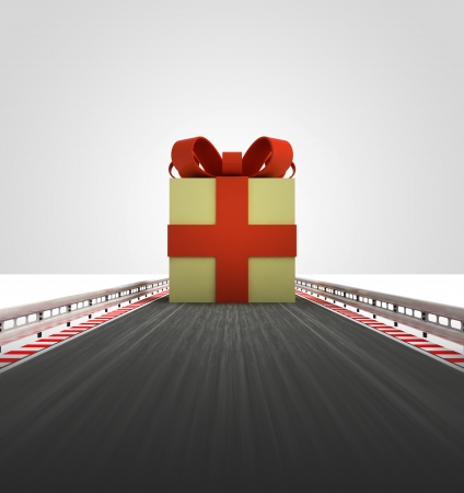christmas gift on motorway leading to xmas celebration illustration illustration