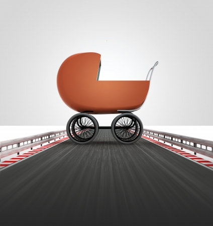 babe: babe carriage on motorway leading to maternity illustration