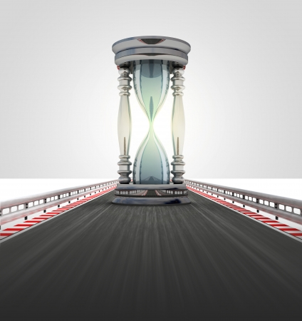 sandglass: running sand-glass on motorway track time lack illustration Stock Photo