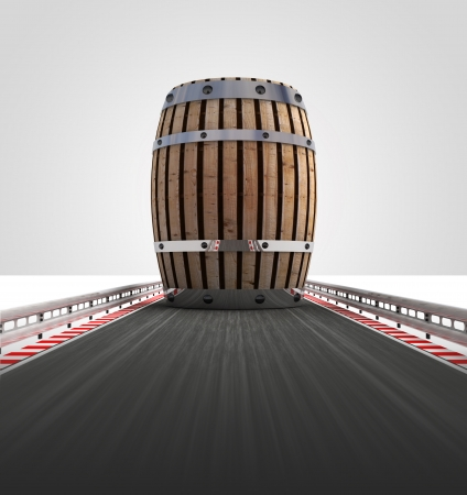 barrel on motorway track leading to storage illustration illustration