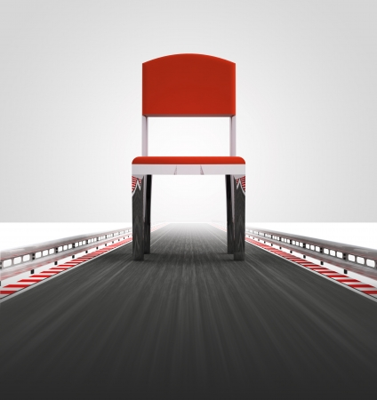 metal legs: free chair seat on race track way illustration Stock Photo