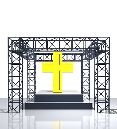 godness: isolated show stage with golden cross illustration