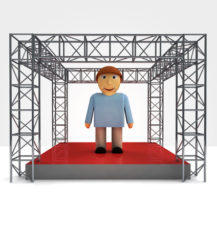 man performance under steel framework construction illustration illustration