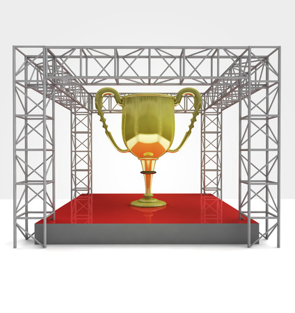 champion cup exhibition under steel framework construction illustration illustration