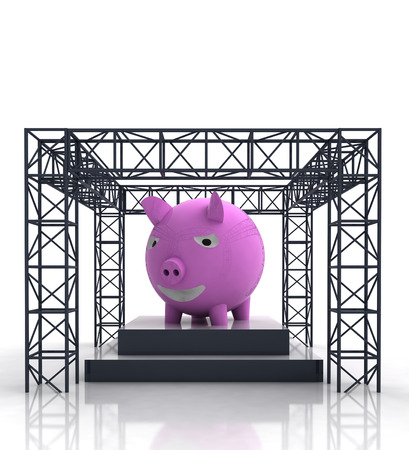 pig iron: isolated show stage with pink pig illustration Stock Photo