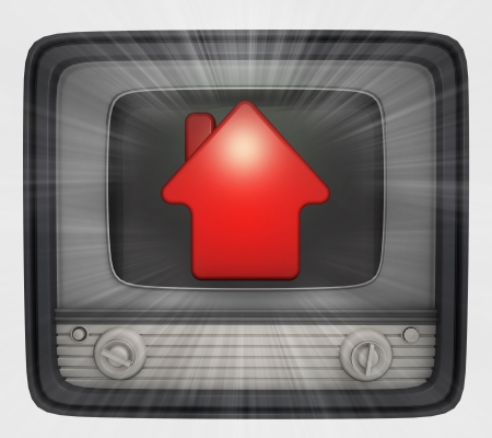 red house property in retro television and flare illustration Stock Illustration - 22260038