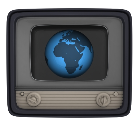 isolated retro television with africa globe illustration illustration