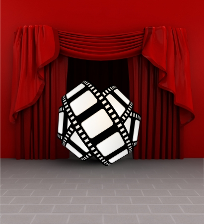 roll curtains: movie trailer introduction before show starts illustration