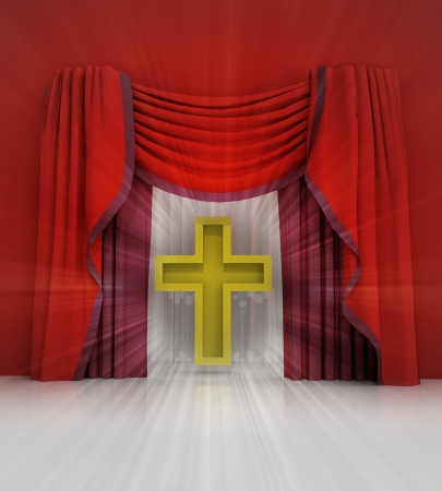 act of god: red curtain scene with golden cross and flare illustration Stock Photo