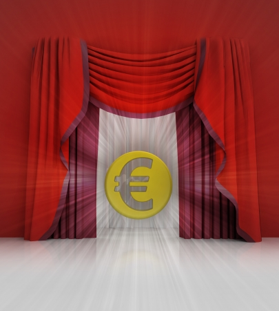 red curtain scene with euro coin and flare illustration Stock Photo