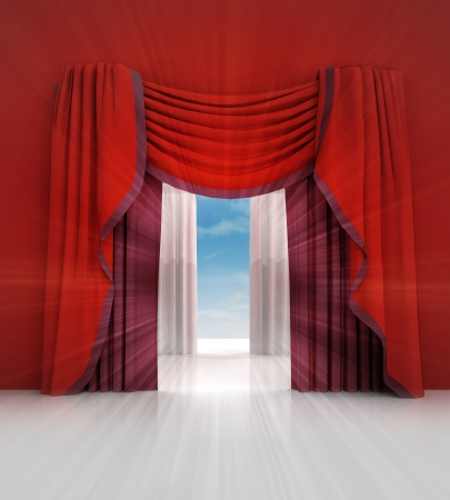opened red curtain with blue sky flare illustration illustration