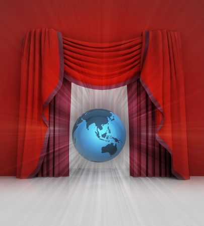 red curtain scene with asia on globe and flare illustration
