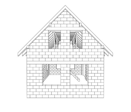 girders: gable house construction line drawing vector illustration