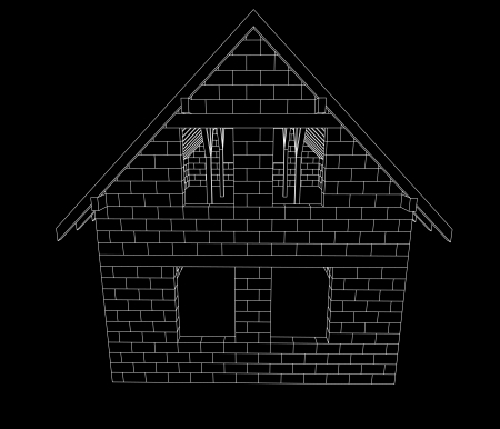 bricked house construction line drawing on black vector illustration Stock Vector - 22372284