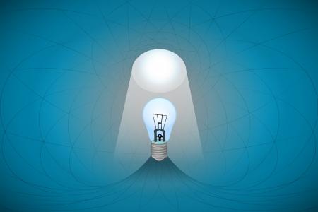 heavenly light: blue heavenly space with light beam highlights bulb vector illustration Illustration
