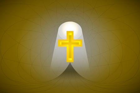 heavenly light: heavenly space with light beam highlights cross vector illustration